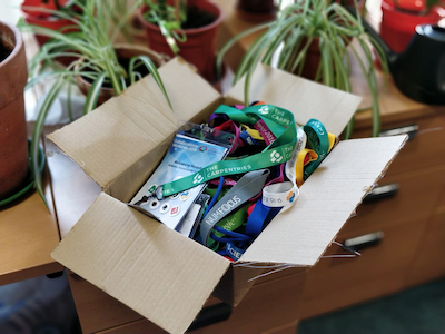Box full of recycled lanyards