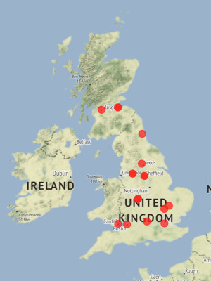 Map of Fellows institutions in the UK