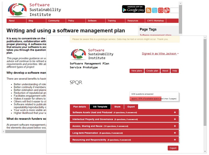 Software management plan guide and service