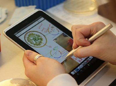 LabBook being used with a tablet and stylus