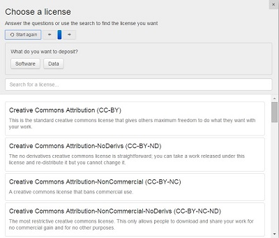 Lindat license selector interface