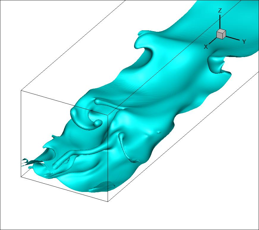 A detailed interface structure from a high flow-rate simulation showing both linear and non-linear features including 'pinch-off' of droplets