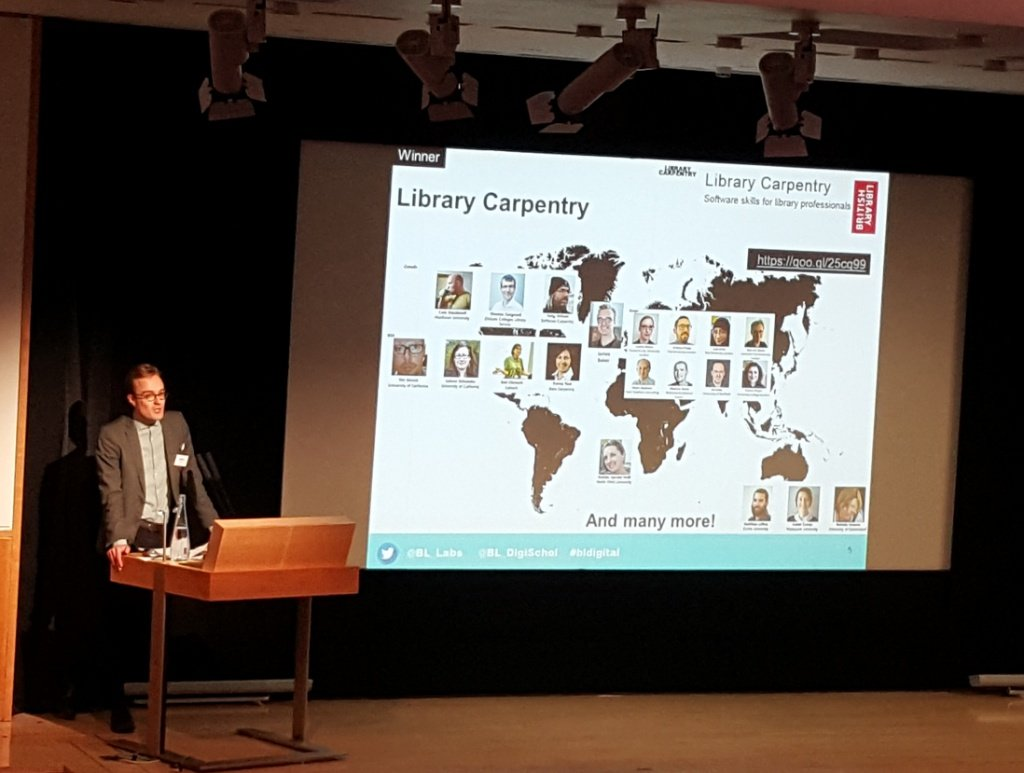 James Baker accepts British Library Labs award