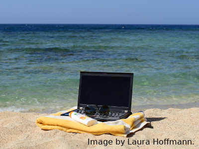 Laptop on the beach.