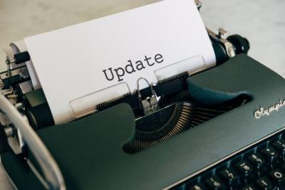 Typewriter writing 'update'