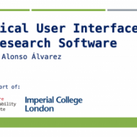 Slide with text: Graphical User Interfaces for Research Software