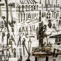 Set of tools on a wall