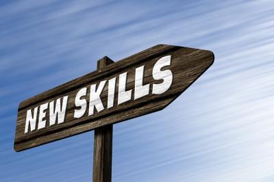 Sign saying new skills