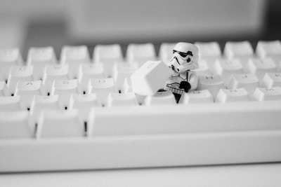 star wars lego character on keyboard